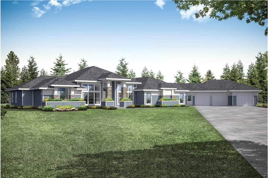 3-Bedroom, 3622 Sq Ft Contemporary House Plan - 108-1934 - Front Exterior