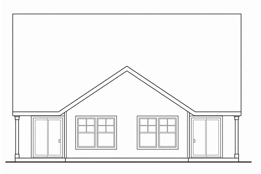 Home Plan Rear Elevation of this 3-Bedroom,1213 Sq Ft Plan -108-1962
