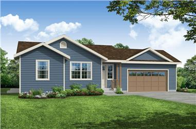 1-Bedroom, 900 Sq Ft Ranch House - Plan #108-1968 - Front Exterior