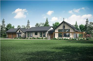3-Bedroom, 3259 Sq Ft Contemporary Home Plan - 108-1988 - Main Exterior