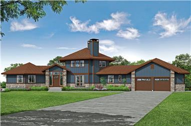 3-Bedroom, 3938 Sq Ft Contemporary House - Plan #108-1994 - Front Exterior