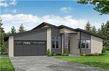 3-Bedroom, 2112 Sq Ft Contemporary House Plan - 108-2001 - Front Exterior