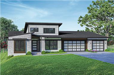 3-Bedroom, 2813 Sq Ft Contemporary House - Plan #108-2023 - Front Exterior