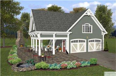0-Bedroom, 1207 Sq Ft Garage Home Plan - 109-1000 - Main Exterior