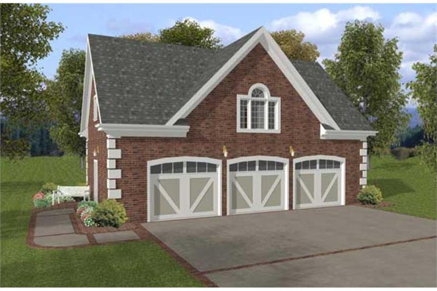 1-Bedroom, 750 Sq Ft Garage w/Apartments Home Plan - 109-1001 - Main Exterior