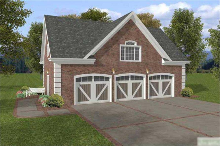 This image shows the front elevation for these Garage House Plans.