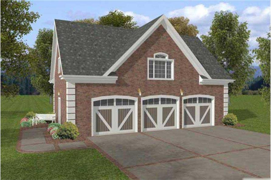 Color rendering of Garage plan (ThePlanCollection: Garage House Plan #109-1002)