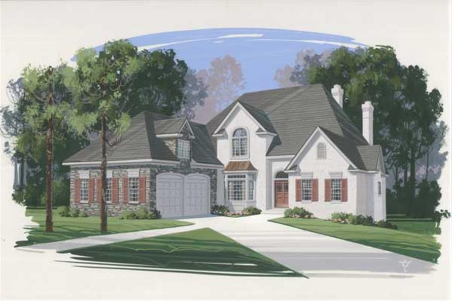 This is an artist's rendering of the front of these Eurooean House Plans.