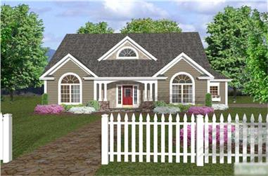 Front elevation of Traditional home (ThePlanCollection: House Plan #109-1005)