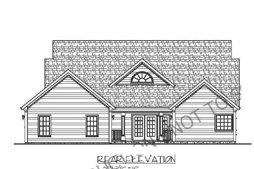 Home Plan Rear Elevation of this 3-Bedroom,1798 Sq Ft Plan -109-1005