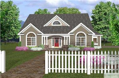 Color rendering of Traditional home plan (ThePlanCollection: House Plan #109-1005)