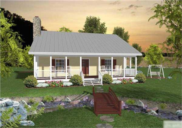 This is the front rendering of these Small House Plans