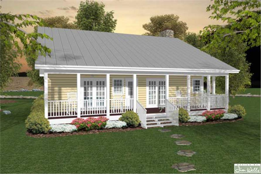 Home Plan Rear Elevation of this 2-Bedroom,953 Sq Ft Plan -109-1006