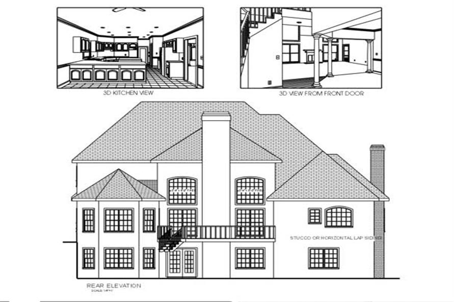 Home Plan Rear Elevation of this 4-Bedroom,2954 Sq Ft Plan -109-1007