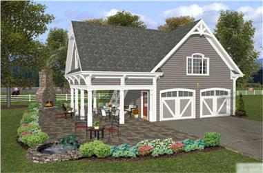 1-Bedroom, 792 Sq Ft Garage w/Apartments Home Plan - 109-1008 - Main Exterior
