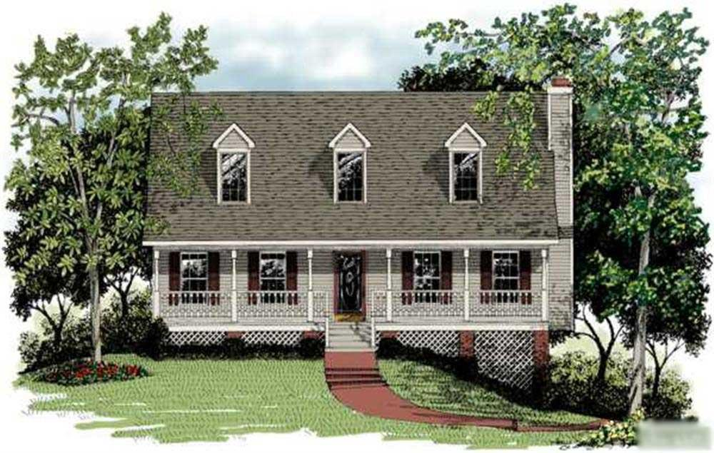 Color rendering of Country House Plan #109-1009.