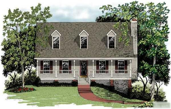 This image is a front elevation of these Country House Plans.
