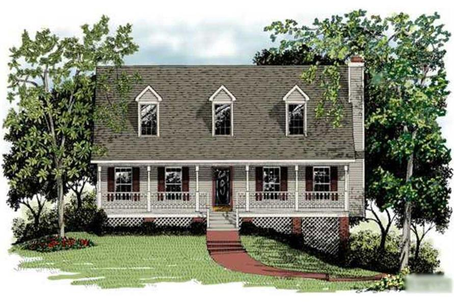 3-Bedroom, 1643 Sq Ft Cape Cod House Plan - 109-1009 - Front Exterior