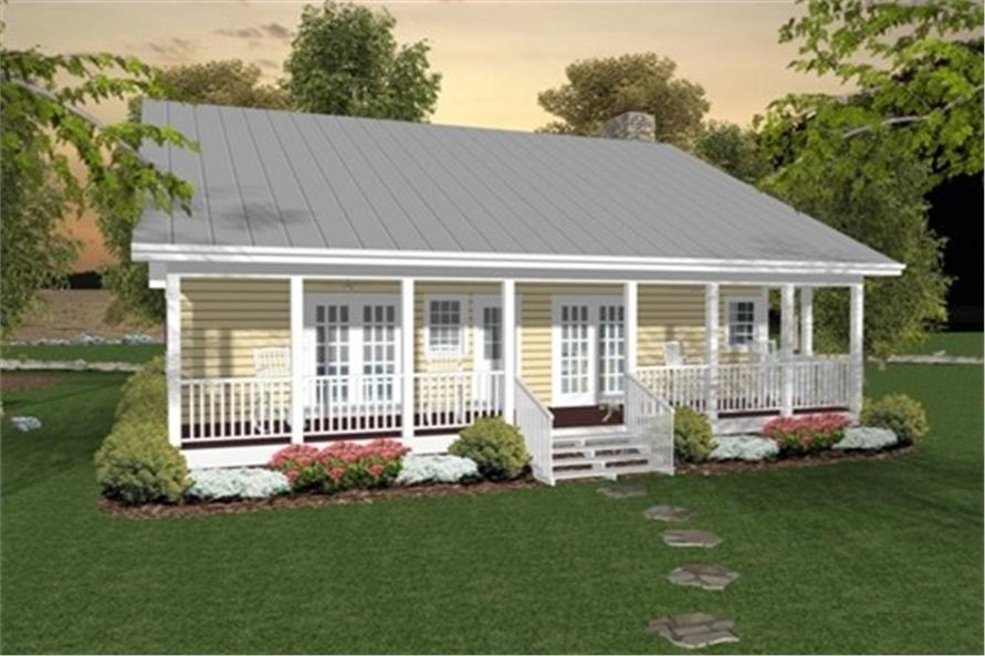 Home Plan Rendering (Rear View) of this 2-Bedroom,953 Sq Ft Plan -109-1010