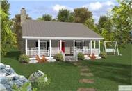 This image shows the front elevation of these Country Homeplans.