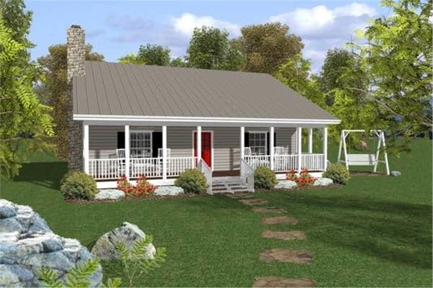 2-Bedroom, 953 Sq Ft Small Ranch Home Plan - 109-1010 - Main Exterior