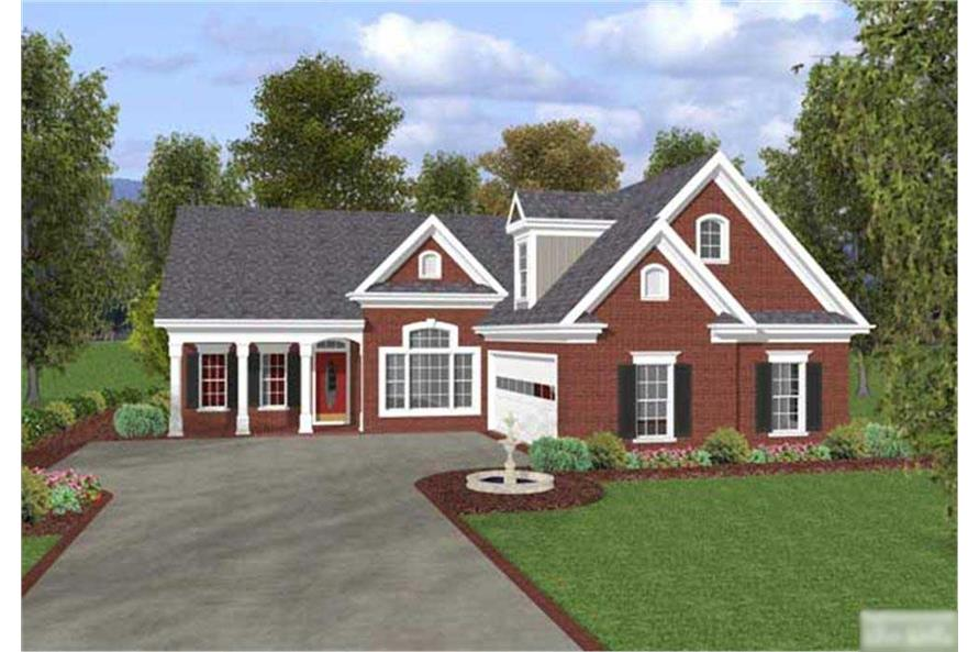 This is a computer-generated rendering of these Country House Plans.
