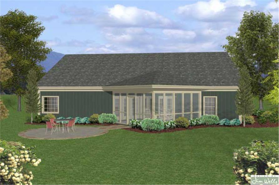 Home Plan Rear Elevation of this 3-Bedroom,1831 Sq Ft Plan -109-1013