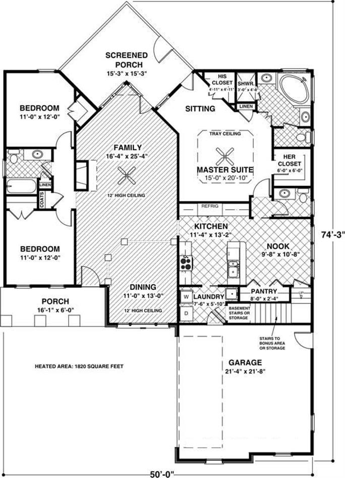 3 Bedrm, 1831 Sq Ft Craftsman House Plan #109-1013