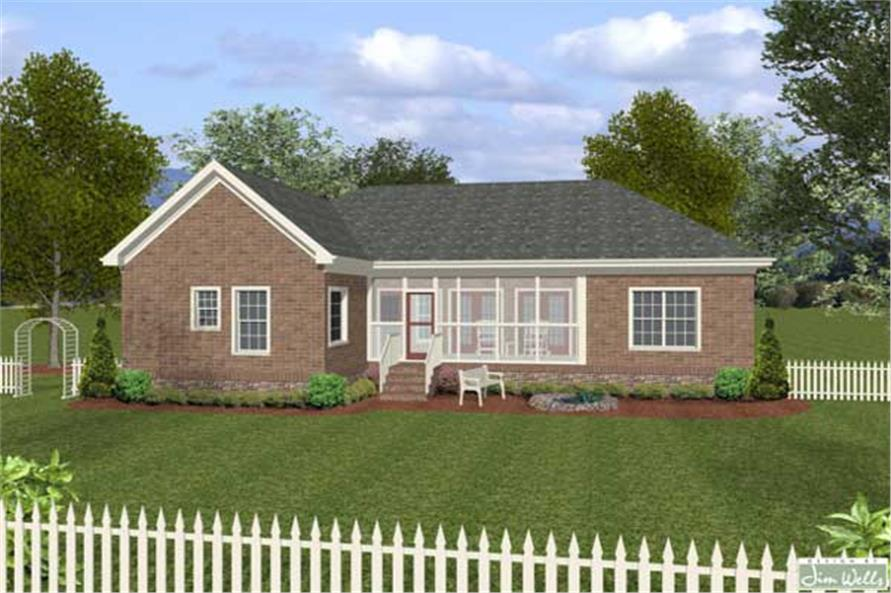Home Plan Rear Elevation of this 4-Bedroom,1800 Sq Ft Plan -109-1016