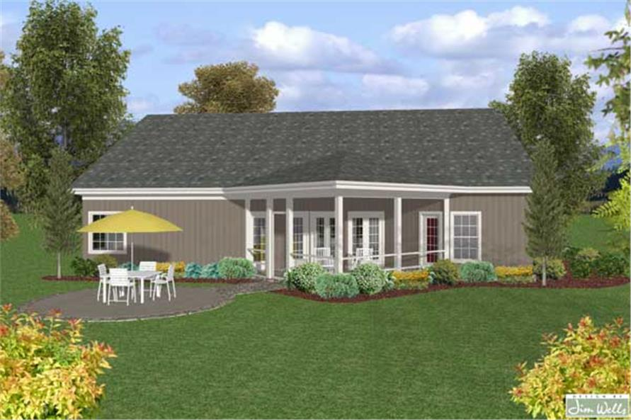 Home Plan Rear Elevation of this 3-Bedroom,1820 Sq Ft Plan -109-1017