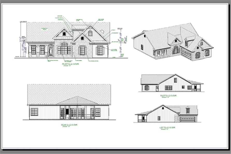 Home Plan Right Elevation of this 3-Bedroom,1820 Sq Ft Plan -109-1017