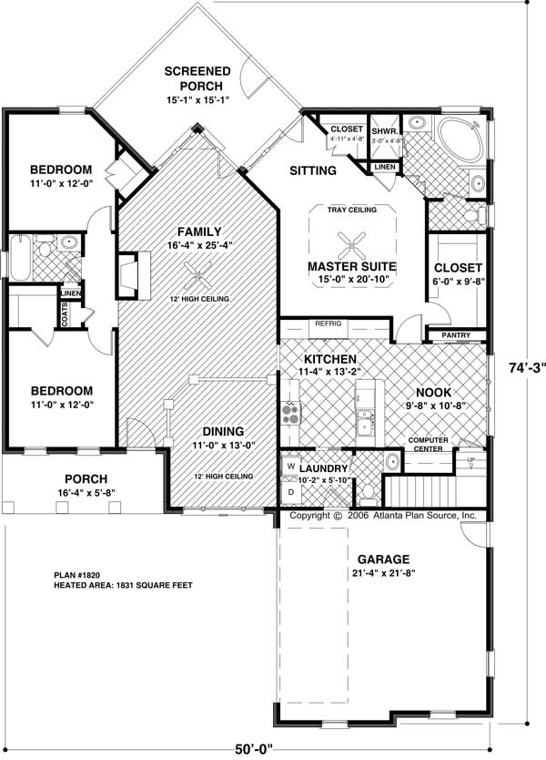 A1820-Small-Floorplan Ranch House With Plans Sewing Room on house plans with laundry rooms, house plans with hobby rooms, house plans with media rooms, house plans with exercise rooms, house plans with gathering rooms, house plans with sewing studios, house plans with sitting rooms, house plans with dining rooms,