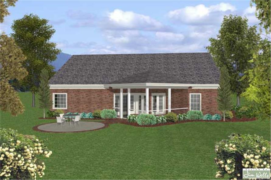 Home Plan Rear Elevation of this 3-Bedroom,1831 Sq Ft Plan -109-1018