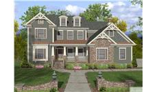 This is a colorful and flavorful front elevation of these Craftsman Home Plans.