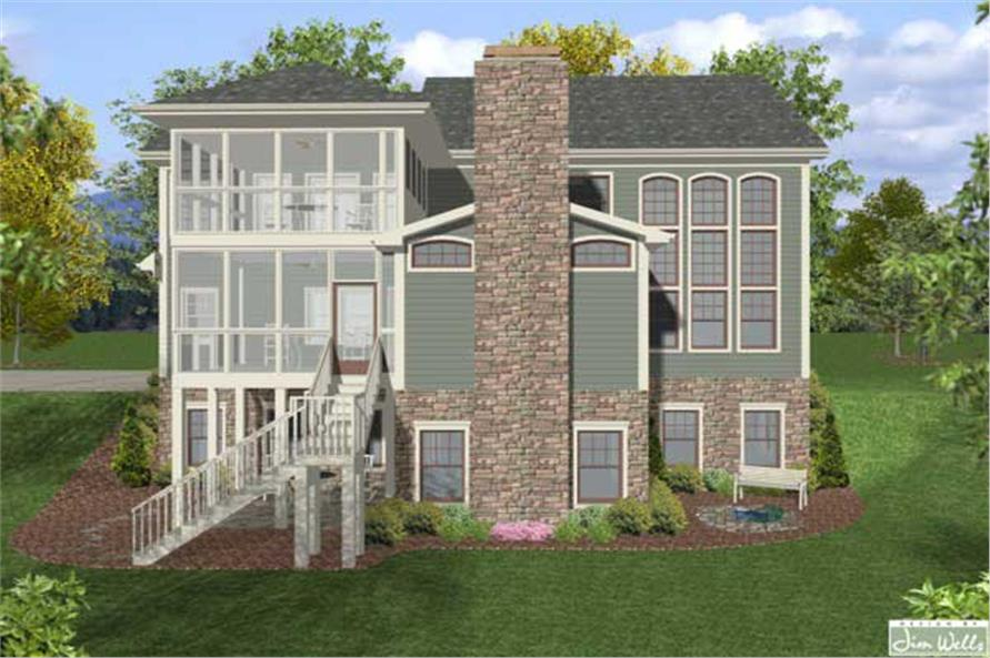 Home Plan Rear Elevation of this 4-Bedroom,2964 Sq Ft Plan -109-1019