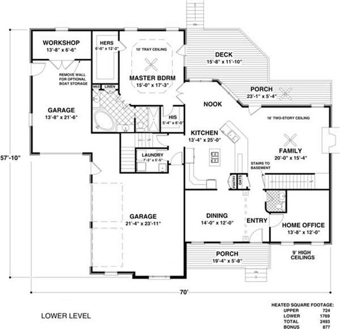 Traditional Home Plan - 4 Bedrms, 4 Baths - 2493 Sq Ft - #109-1020