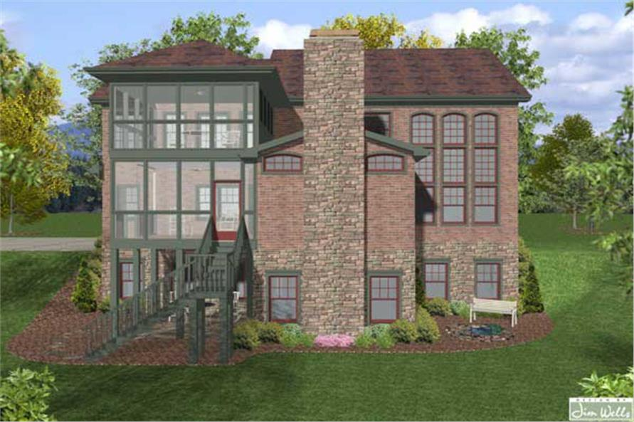 Home Plan Rear Elevation of this 4-Bedroom,2964 Sq Ft Plan -109-1022