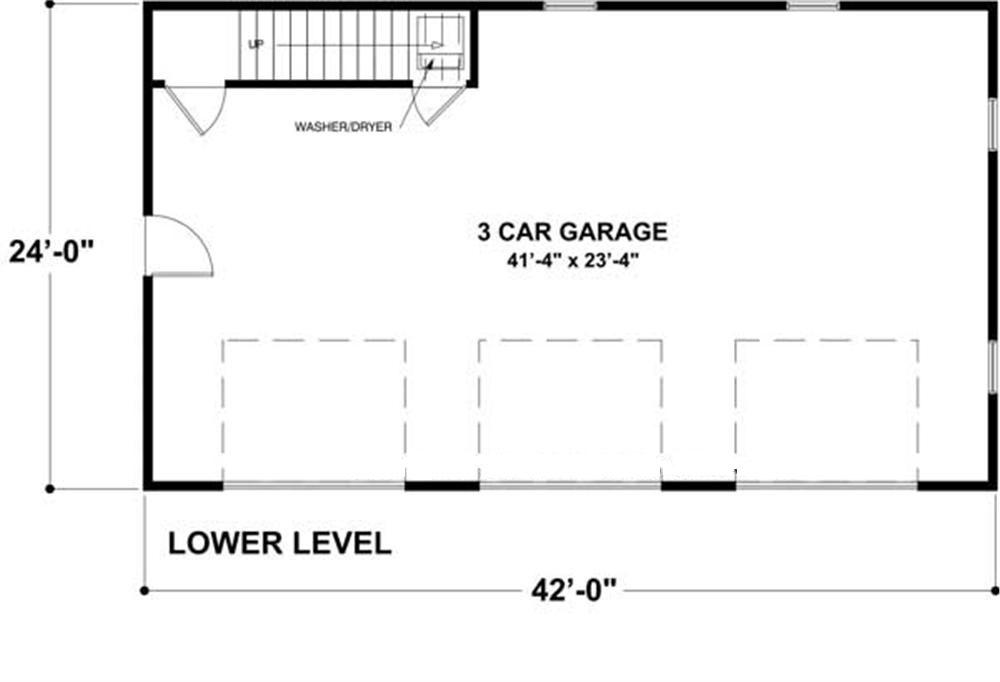 Craftsman garage home with 1 bedrm 838 sq ft plan for 3 car garage size square feet