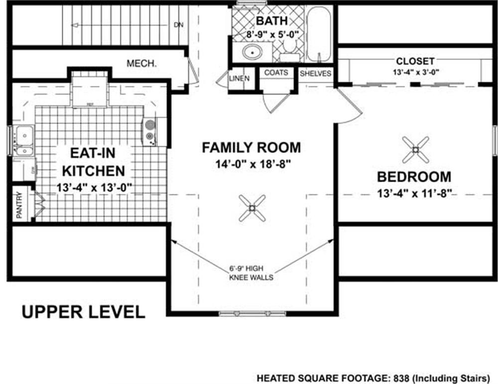 Craftsman garage home with 1 bedrm 838 sq ft plan for Second story floor plan