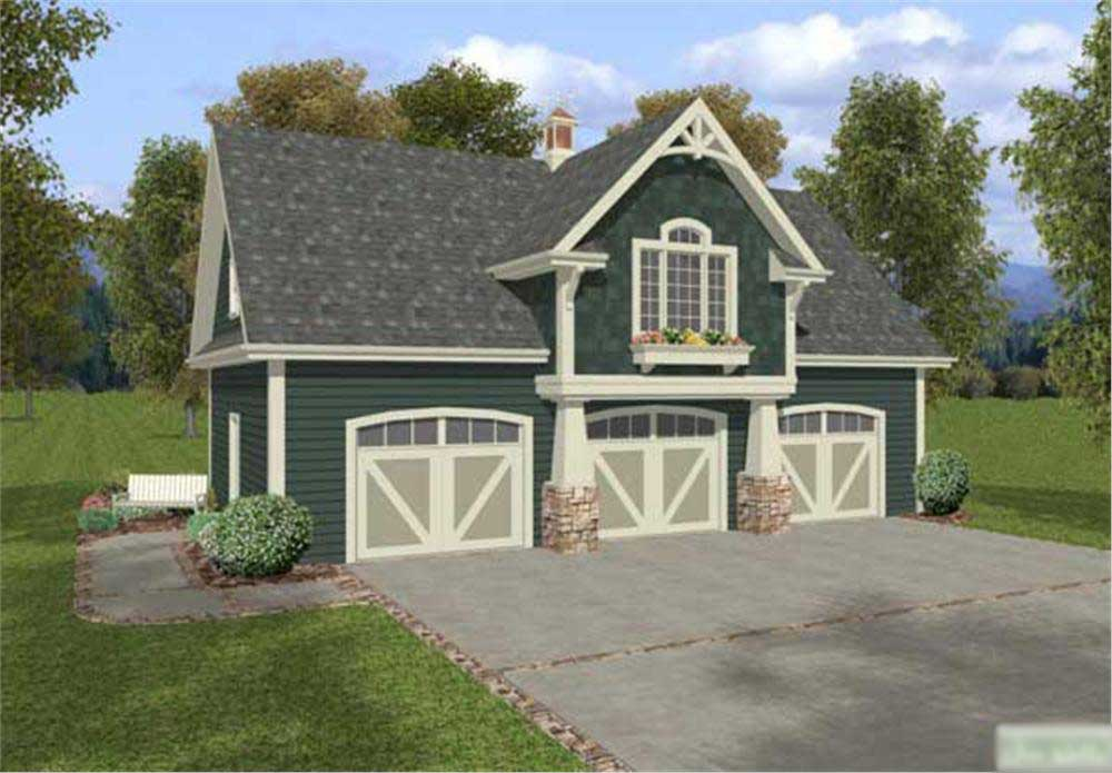 2 Car Garage Width >> Barn Style Garage Home with 1 Bedrm, 3 Cars, 838 Sq Ft | Plan #109-1023