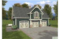 This is a front rendering of these Garages with Apartments house plans.