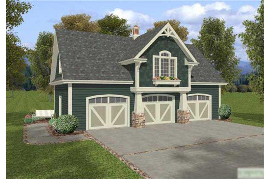 1-Bedroom, 838 Sq Ft Craftsman Home Plan - 109-1023 - Main Exterior