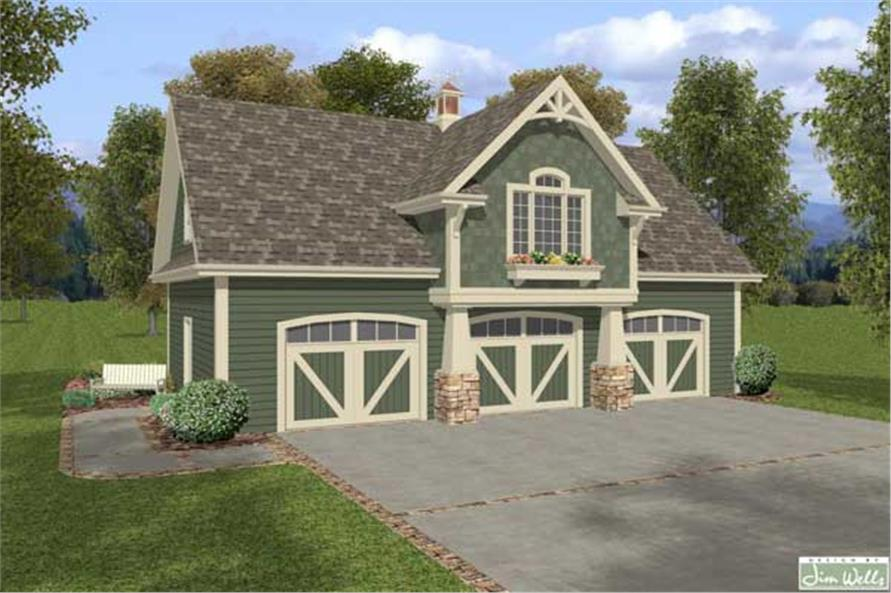 Craftsman garage home with 1 bedrm 838 sq ft plan Small house plans with 3 car garage