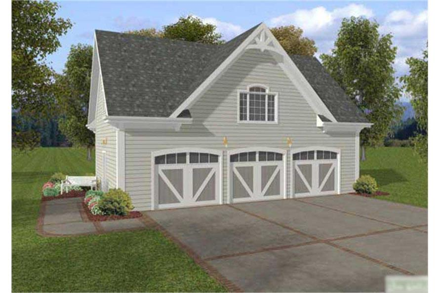 This image shows the front elevation of these Garage Home Plans.
