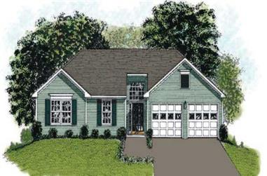 3-Bedroom, 1093 Sq Ft European House Plan - 109-1027 - Front Exterior