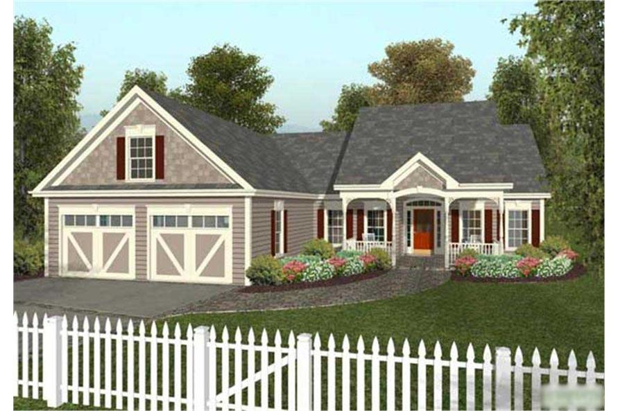 3-Bedroom, 1496 Sq Ft Country House Plan - 109-1028 - Front Exterior