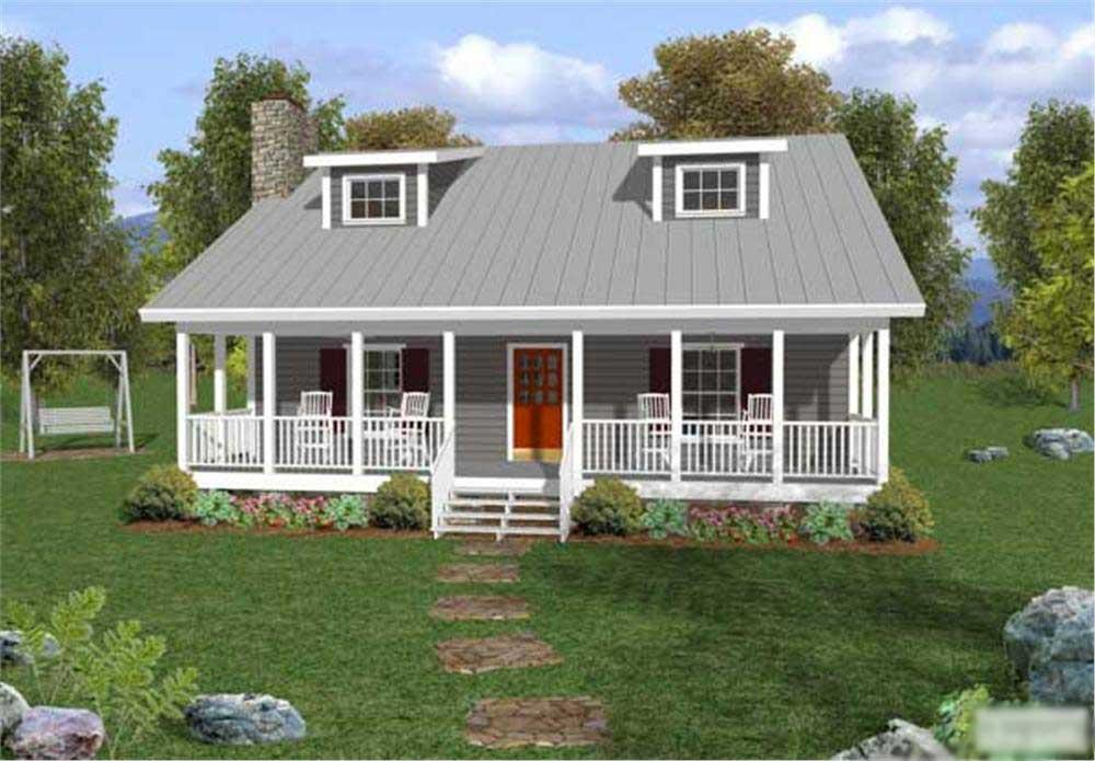 Front elevation of small country home (ThePlanCollection: House Plan #109-1029)