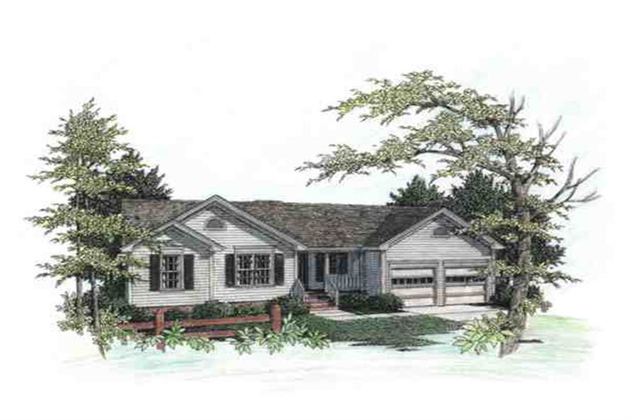 This is a color rendering of these Ranch House Plans.