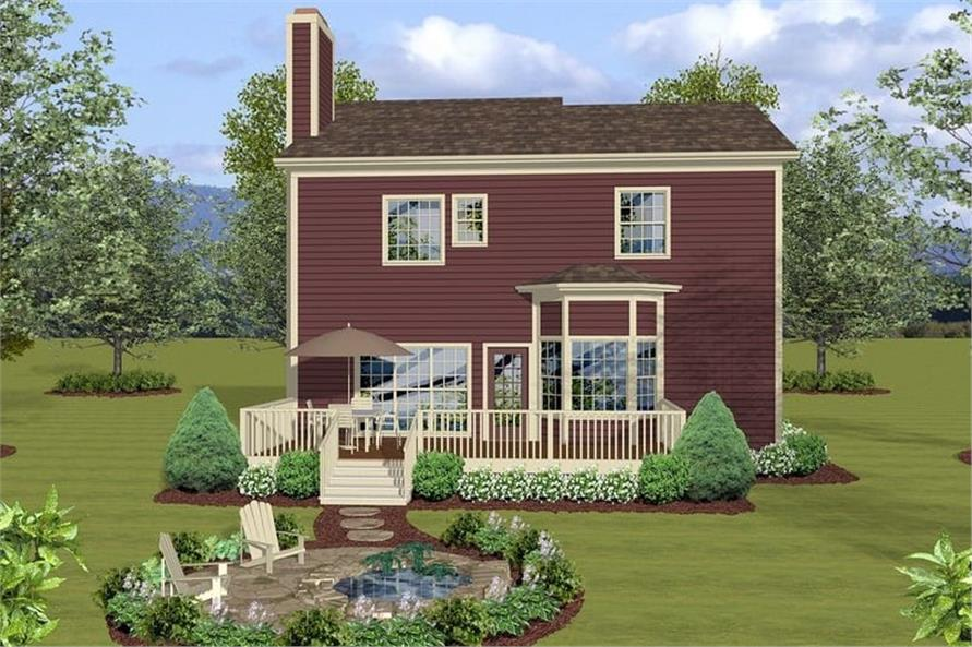 Home Plan Rear Elevation of this 3-Bedroom,2098 Sq Ft Plan -109-1033
