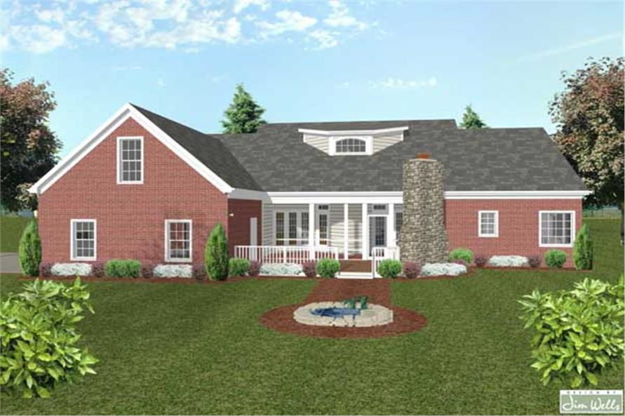Home Plan Rear Elevation of this 4-Bedroom,1992 Sq Ft Plan -109-1035